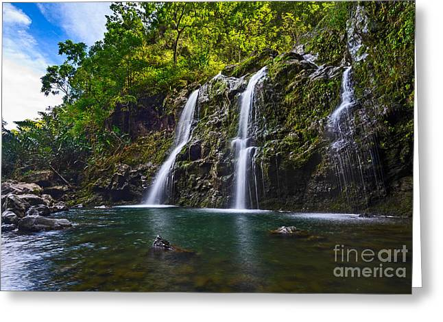 Falls Greeting Cards - Upper Waikani Falls - the stunningly beautiful Three Bears found in Maui. Greeting Card by Jamie Pham