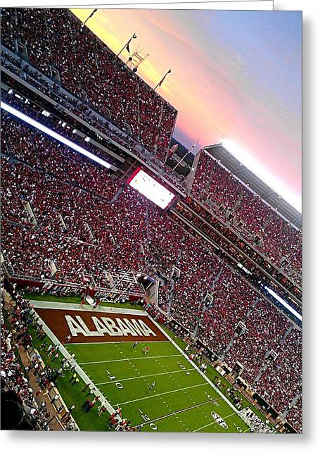 Bryant Denny Stadium Greeting Cards - Upperdeck Sunset Greeting Card by Kenny Glover