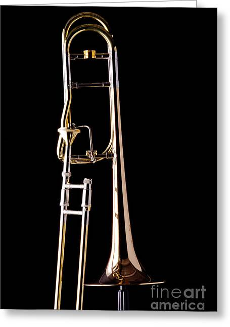 Marching Band Greeting Cards - Upright Rotor Tenor Trombone on Black in Color 3465.02 Greeting Card by M K  Miller