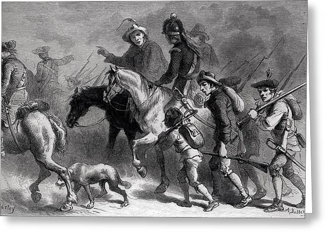 Bayonet Photographs Greeting Cards - Uprising Of The New England Yeomanry, Engraved By A. Bollett Engraving B&w Photo Greeting Card by Felix Octavius Carr Darley