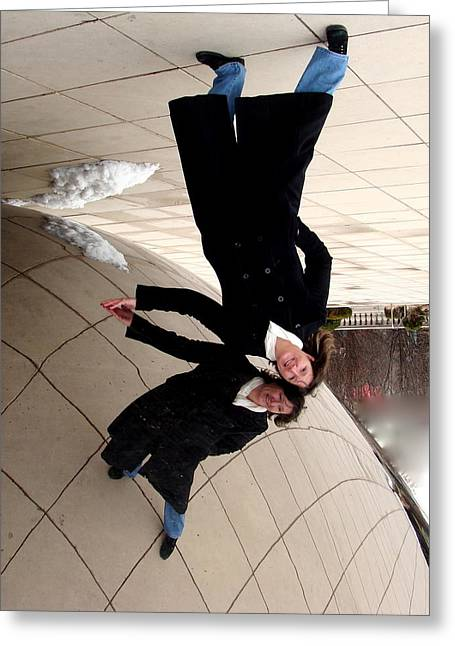 The Bean Greeting Cards - Upside Down at The Bean Greeting Card by Rita Mueller