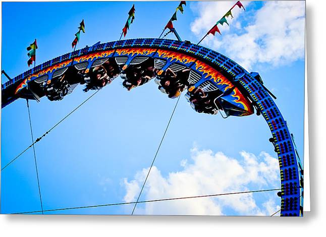 Rollercoaster Photographs Greeting Cards - Upside Down Greeting Card by Colleen Kammerer