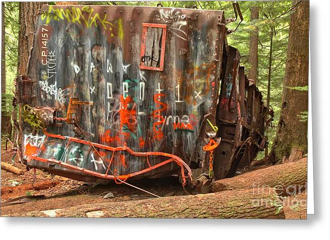 Sea To Sky Highway Greeting Cards - Upside Down Derailed Box Car Greeting Card by Adam Jewell