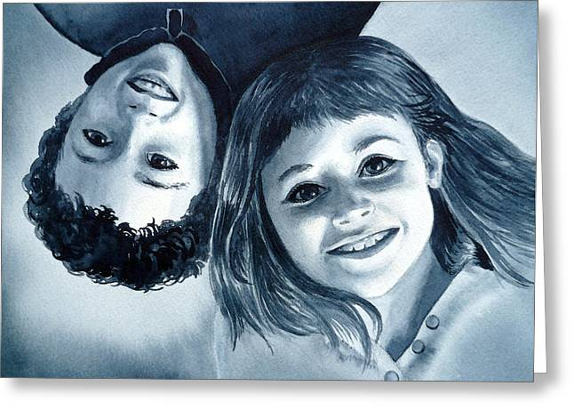 Reverse Greeting Cards - Upside Down Kids  Greeting Card by Irina Sztukowski