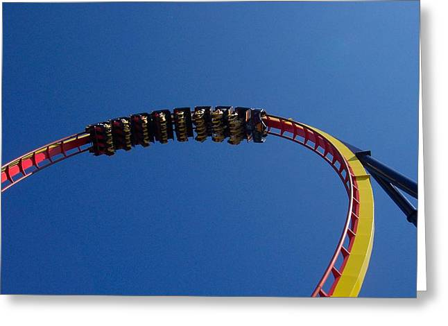 Amusements Greeting Cards - Upside Down Greeting Card by Pamela Schreckengost