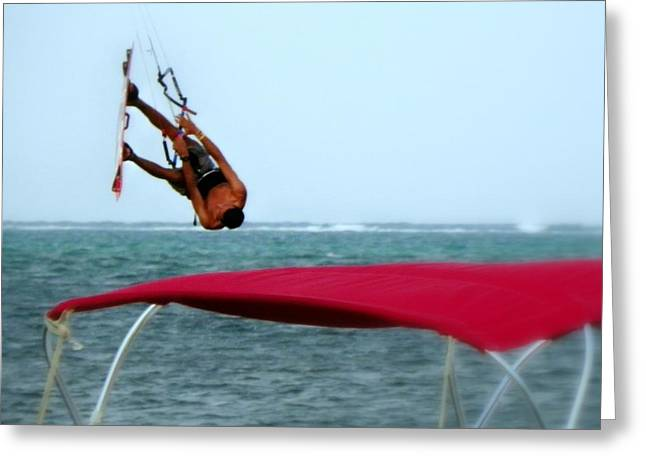 Kite Surfing Greeting Cards - Upside Down World  Greeting Card by Karen Wiles
