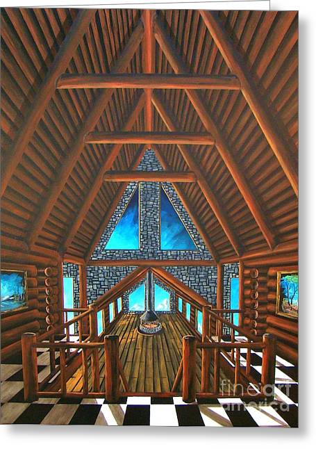 Log Cabins Greeting Cards - Upstairs Dream Greeting Card by Steven Lebron Langston