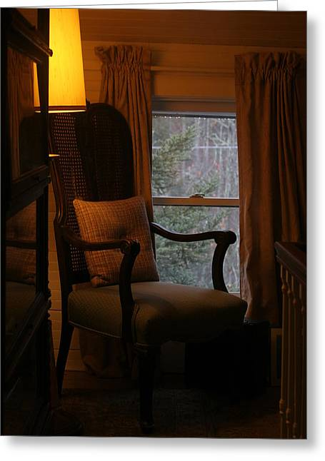 Still Life By Window Greeting Cards - Upstairs Landing Early Morning Greeting Card by Paula Tohline Calhoun