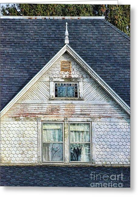 Run Down Greeting Cards - Upstairs Windows in Old House Greeting Card by Jill Battaglia