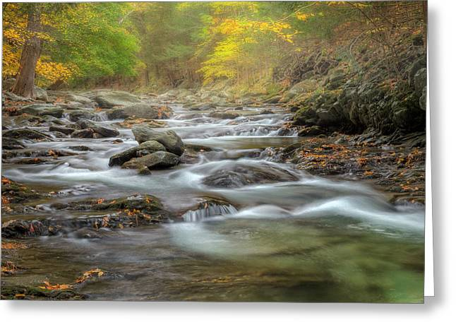 The Berkshires Greeting Cards - Upstream Fog Square Greeting Card by Bill  Wakeley