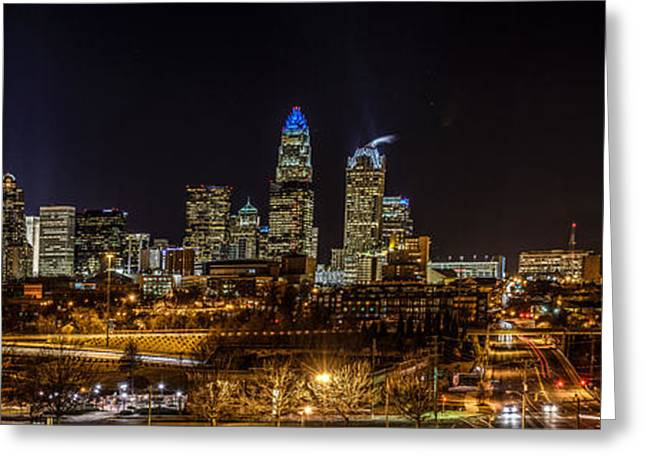 Uptown Charlotte Panorama Greeting Card by Randy Scherkenbach