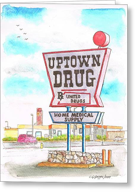 Devine Greeting Cards - Uptown Drug sing in Route 66 - Andy Devine Ave in Kingman - Arizona Greeting Card by Carlos G Groppa
