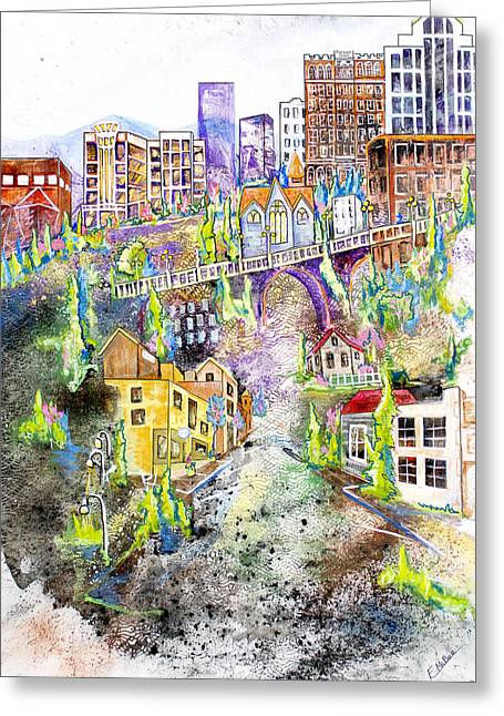 City Scapes Framed Prints Greeting Cards - Uptown Greeting Card by Edith Hardaway