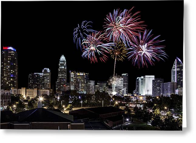 Charlotte Greeting Cards - Uptown Fireworks 2014 Greeting Card by Chris Austin