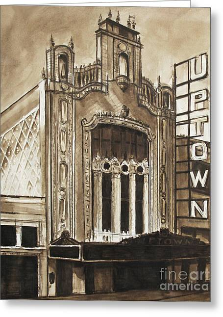 Film Noir Drawings Greeting Cards - Uptown Theater Greeting Card by Christopher Buoscio