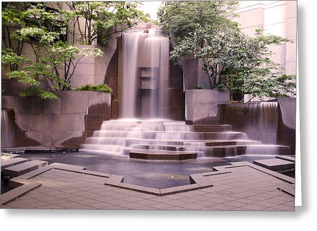 Charlotte Uptown Greeting Cards - Uptown Waterfall Greeting Card by Paul Scolieri