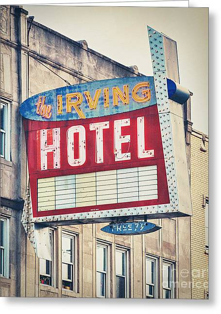 Irving Greeting Cards - Chicagos Irving Hotel Greeting Card by Emily Enz