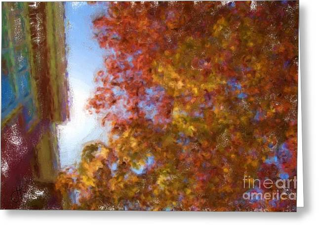 Take Over Paintings Greeting Cards - Upward Fall 1091 20141008 Greeting Card by Julie Knapp