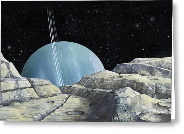 Miranda Greeting Cards - Uranus From Miranda, Artwork Greeting Card by Gary Hincks