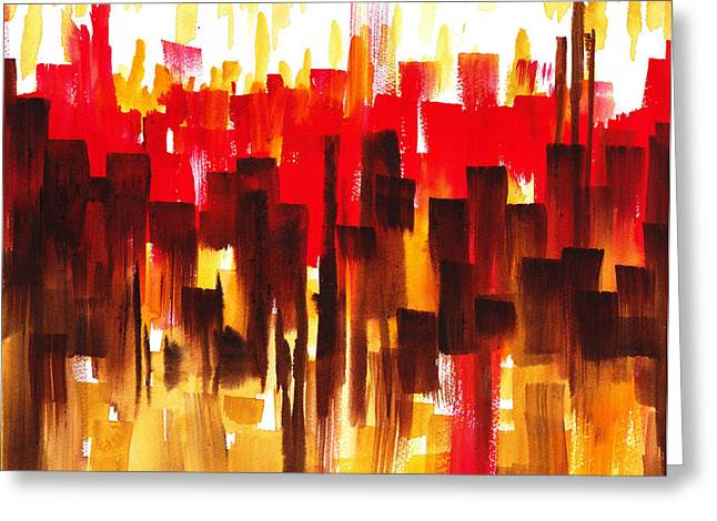 City Buildings Paintings Greeting Cards - Urban Abstract Glowing City Greeting Card by Irina Sztukowski