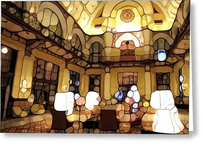 Union Station Lobby Greeting Cards - Urban Abstract Hotel Lobby Greeting Card by Dan Sproul