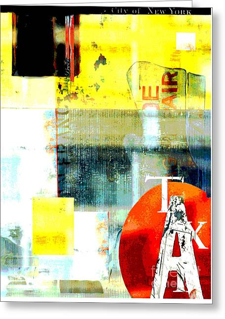 Juvenile Licensing Greeting Cards - Urban Abstract in Red and Yellow Greeting Card by Anahi DeCanio