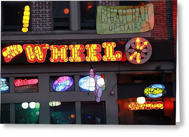 Live Music Mixed Media Greeting Cards - Urban Abstract Nashville Lights Greeting Card by Dan Sproul