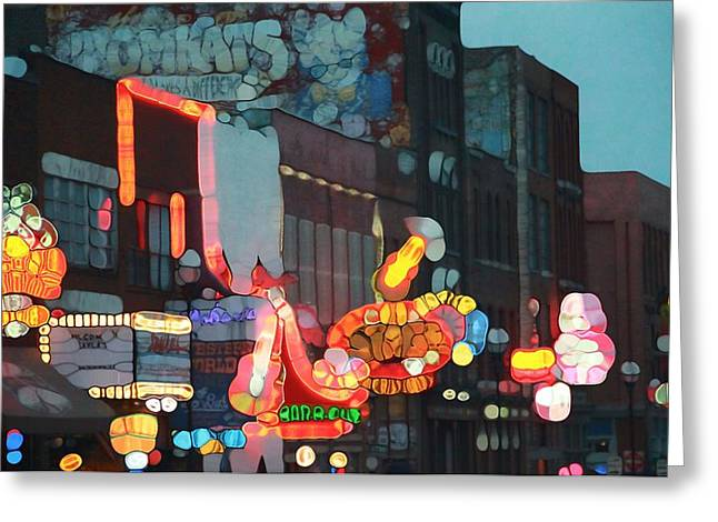 Country Music Town Greeting Cards - Urban Abstract Nashville Neon Greeting Card by Dan Sproul