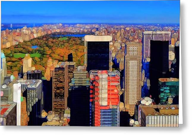 Skylines Mixed Media Greeting Cards - Urban Abstract New York City Skyline And Central Park Greeting Card by Dan Sproul