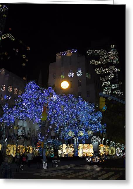 Streetlight Greeting Cards - Urban Abstract NYC At Night Greeting Card by Dan Sproul