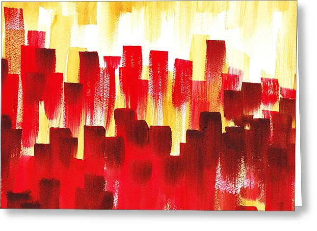 City Buildings Paintings Greeting Cards - Urban Abstract Red City Lights Greeting Card by Irina Sztukowski
