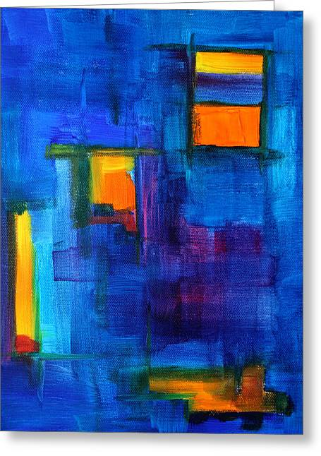 Rectangles Greeting Cards - Urban Architecture Abstract Greeting Card by Nancy Merkle