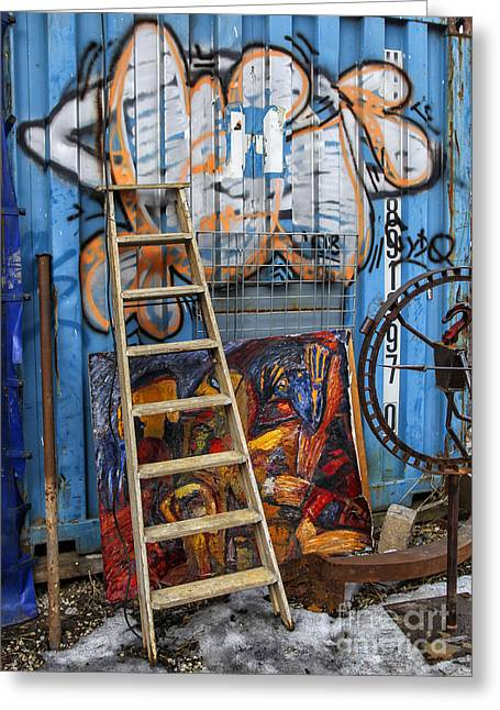 Wooden Steps Greeting Cards - Urban art Greeting Card by Patricia Hofmeester