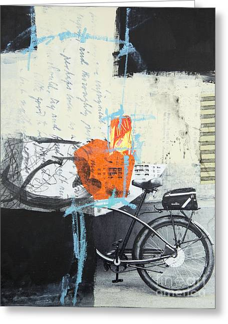 Abstraction Mixed Media Greeting Cards - Urban bicycle Greeting Card by Elena Nosyreva