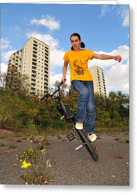 Urban Bmx Flatland With Monika Hinz Greeting Card by Matthias Hauser