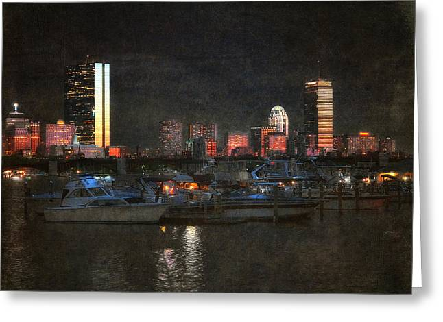 Boston Light Greeting Cards - Urban Boston Skyline Greeting Card by Joann Vitali