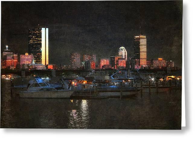 Urban Boston Skyline Greeting Card by Joann Vitali