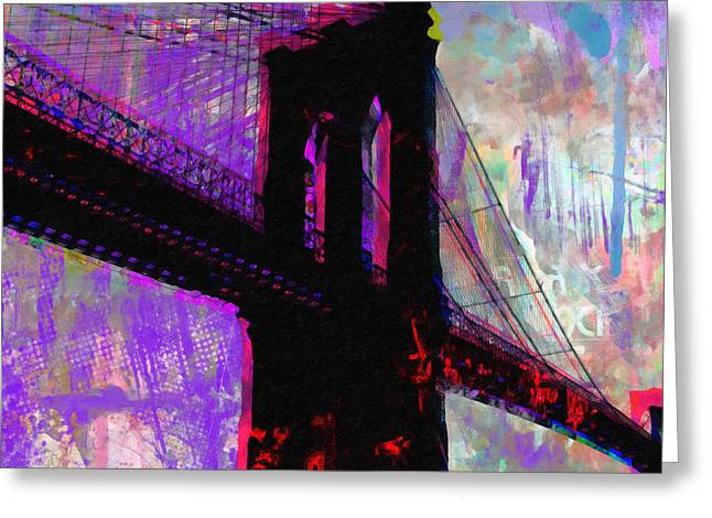 Paint Photograph Greeting Cards - Urban Bridge  Greeting Card by Ricki Mountain