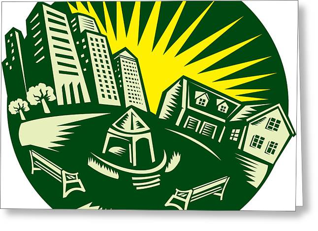 Parked Greeting Cards - Urban Building Park House Woodcut Greeting Card by Aloysius Patrimonio