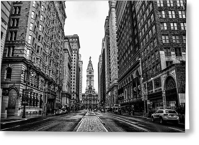 Urban Canyon Greeting Cards - Urban Canyon - Broad Street Philadelpia Greeting Card by Bill Cannon