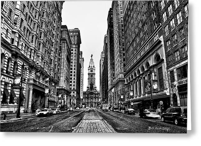 White Digital Greeting Cards - Urban Canyon - Philadelphia City Hall Greeting Card by Bill Cannon