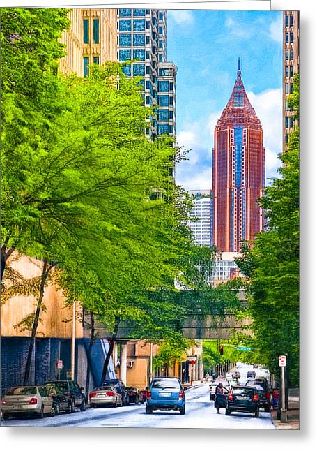 Golds Reds And Greens Greeting Cards - Urban Canyons Of Atlanta Greeting Card by Mark Tisdale