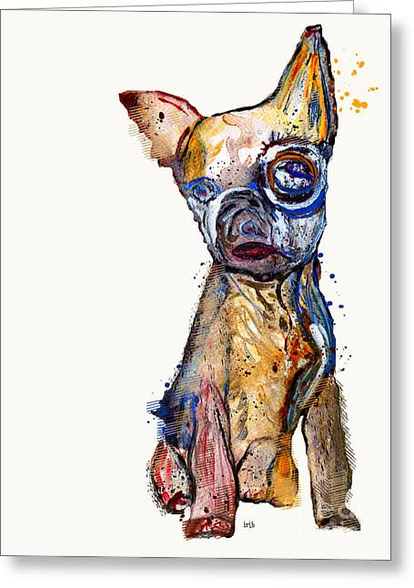 Chihuahua Art Greeting Cards - Urban Chihuahua Greeting Card by Bri Buckley