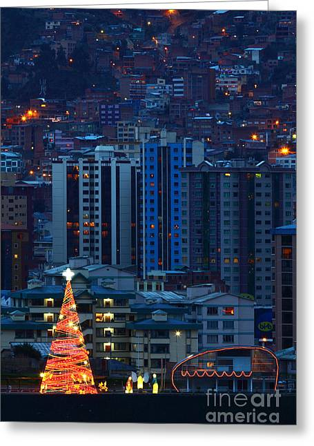 Christmas Season Blocks Greeting Cards - Urban Christmas Tree Greeting Card by James Brunker