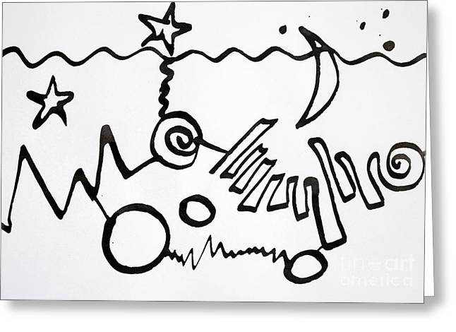 Abstract Beach Landscape Drawings Greeting Cards - Urban beach Greeting Card by Chani Demuijlder