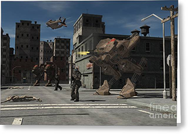 Future Leader Greeting Cards - Urban Combat Patrol - Zombie Central Greeting Card by Fairy Fantasies