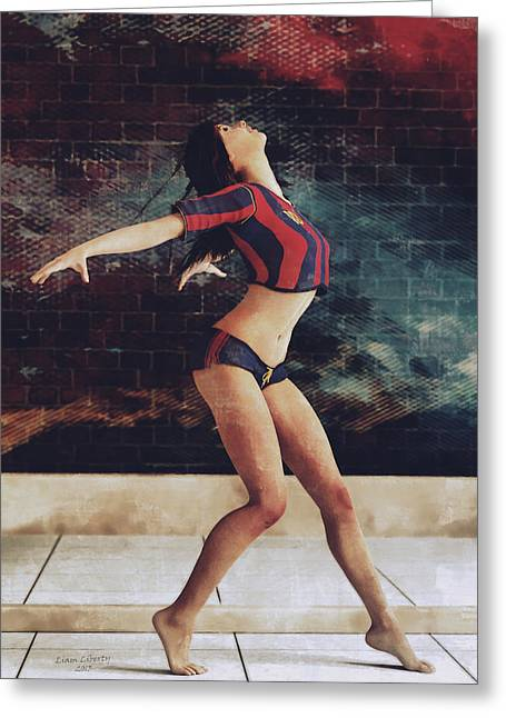 Girls Soccer Art Greeting Cards - Urban Dancer Greeting Card by Liam Liberty