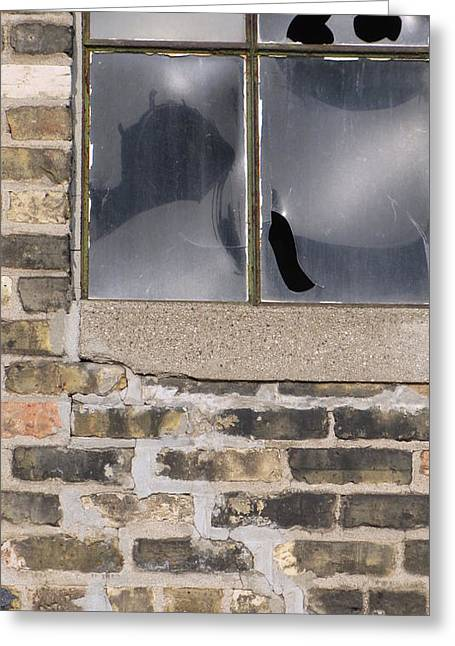 Glass Wall Greeting Cards - Urban Decay Brick Window 1 Greeting Card by Anita Burgermeister