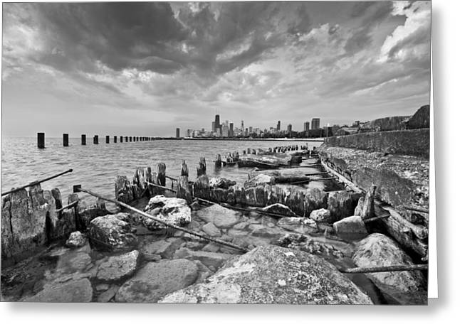 Chicago Black White Greeting Cards - Urban Decay Greeting Card by Daniel Chen