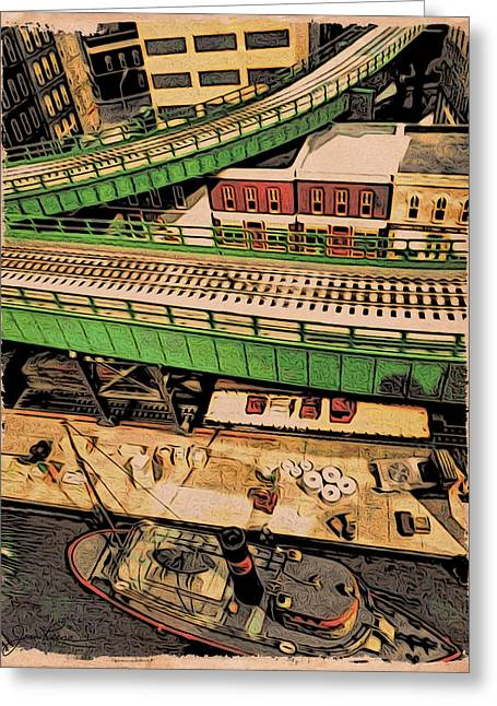Boats In Water Drawings Greeting Cards - Urban Dock Greeting Card by Joan Reese